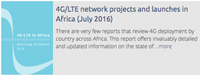 4G/LTE network projects and launches in Africa